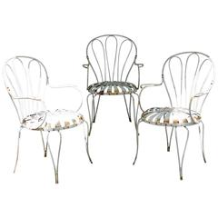 Set of Four of Iron Garden Chairs Francois Carre'