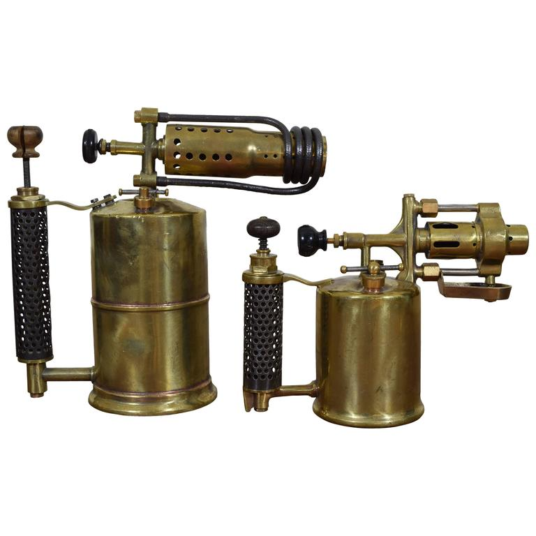 Two French Brass and Steel Oil Fueled Blowtorches, Second Half 19th Century For Sale