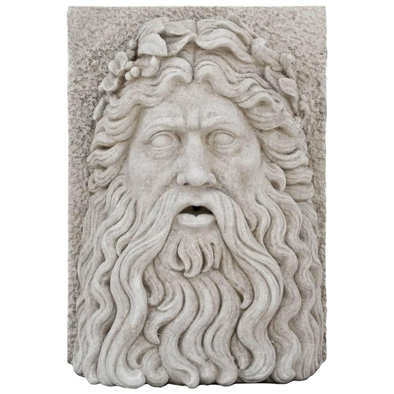 20th Century Large Tuscan Garden Mask of Zeus