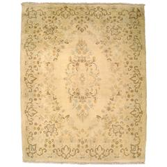 Vintage Persian Kerman Rug in Small Square Size with Ivory Field & Floral Design