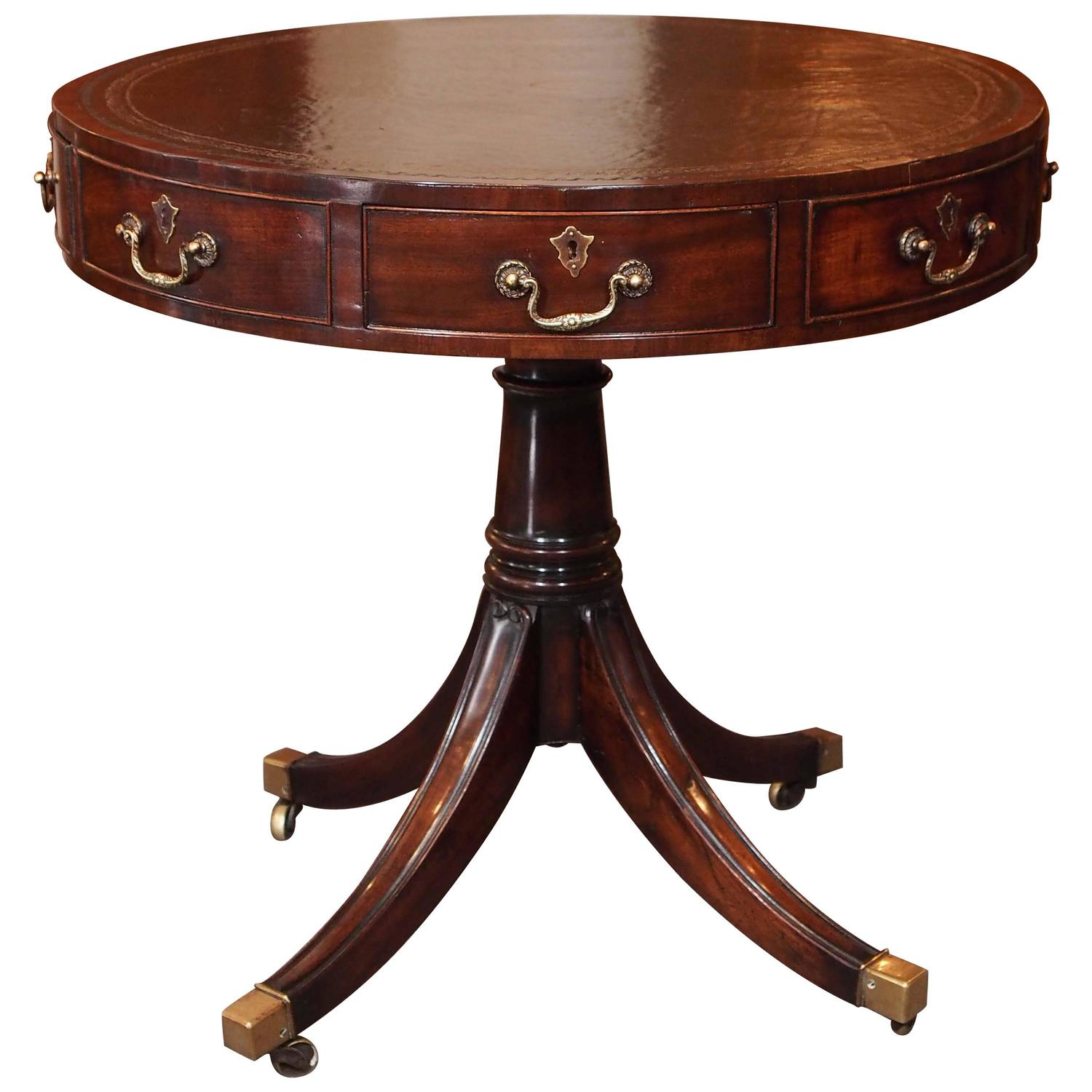 Antique Round Leather Top Coffee Table: Antique Scottish Mahogany Leather Top Rent Table At 1stdibs