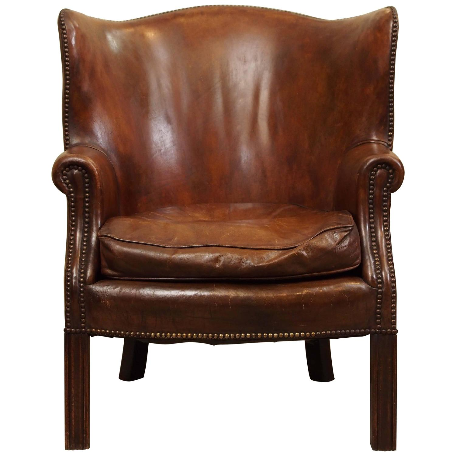 Antique English Mahogany Leather Library Chair At 1stdibs