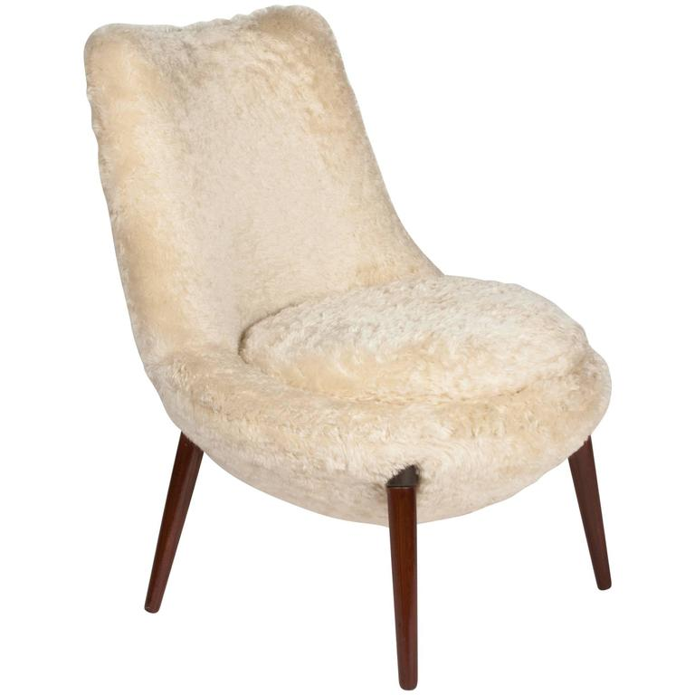 occasional chair in teddy bear mohair fabric french 1950s at 1stdibs. Black Bedroom Furniture Sets. Home Design Ideas
