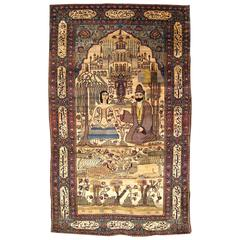 Antique Persian Kashan Silk Pictorial Rug with the Lovers Leyli and Majnun