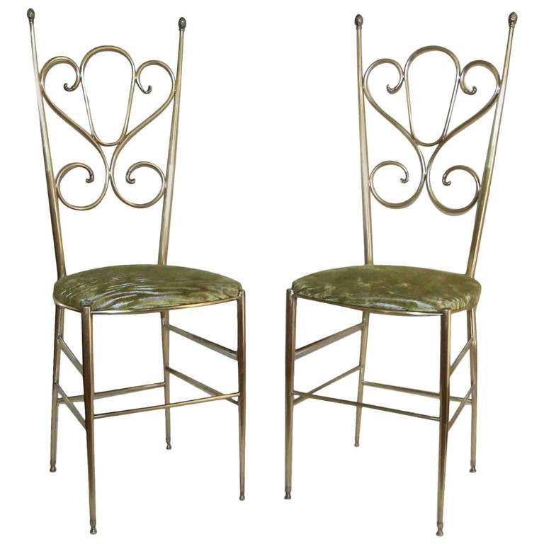 Pair of Tall Back Brass Italian Chiavari Side Chairs