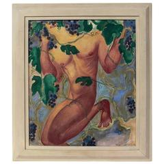 Art Deco Painting of Elusive Male Nude by Aimee Seyfort
