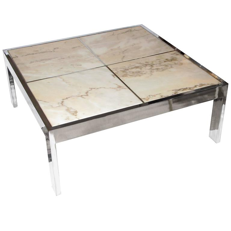1970s Pace Collection Chrome and Marble Coffee Table 1