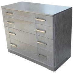 1940s Gray Cerused Cabinet with Drawers