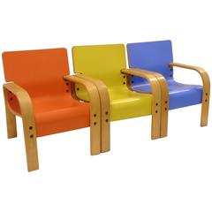 Red, Yellow Blue Mid-Century Armchairs