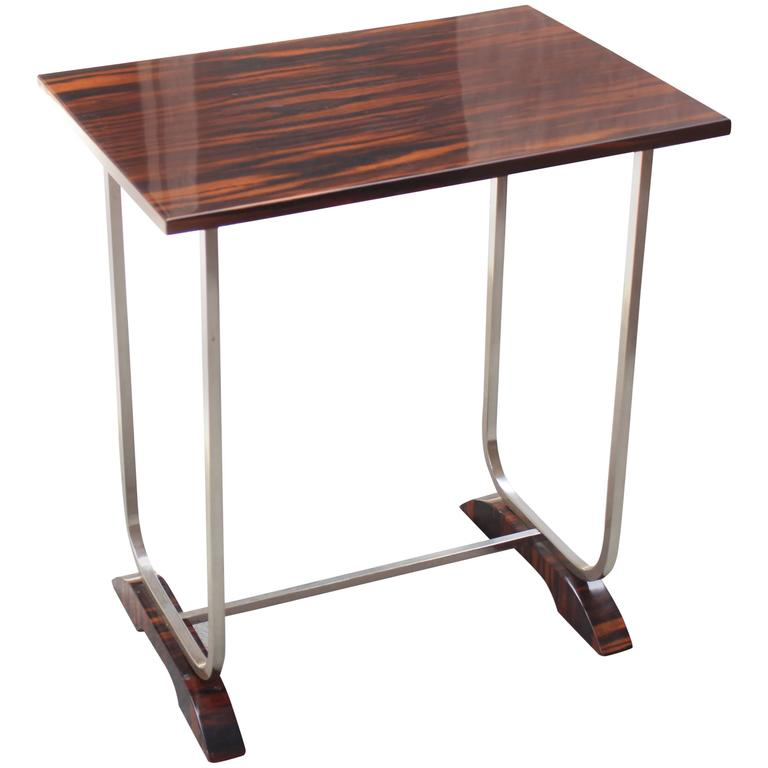 1930s Macassar and Chrome Side Table For Sale
