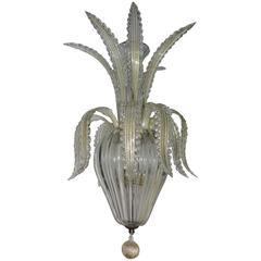 1950-1970, Chandelier Murano Crystal and Gold Inclusion, Pineapple Form