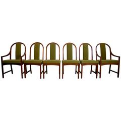 Milo Baughman for Directional Walnut Dining Chairs, Set of Six