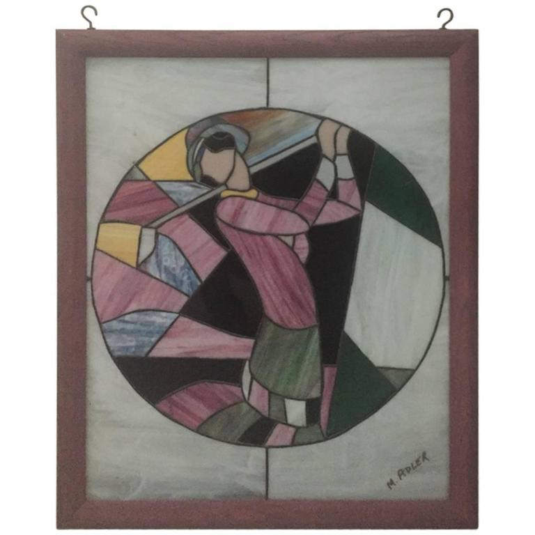 Signed Art Deco Stained Glass Woman Golfer For Sale At 1stdibs