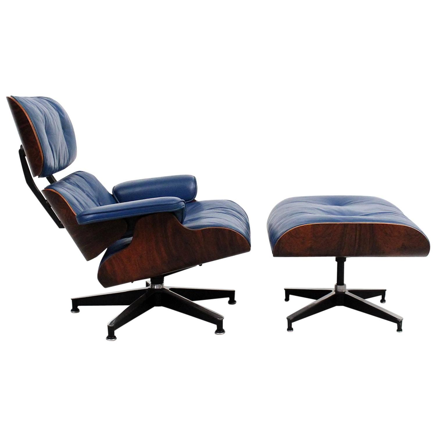 Blue Leather Eames Lounge Chair And Ottoman For Sale At 1stdibs