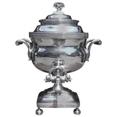 English Sheffield Tea Urn with Dolphin Head Spout, Circa 1810