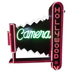 Hollywood Camera Double-Sided Neon Road Sign