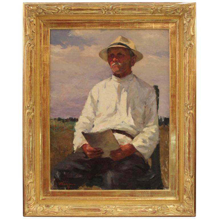 """Oil on Canvas Portrait of """"Ales Petrovich the Agronomist"""""""