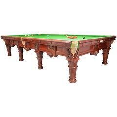 Billiard snooker pool table carved mahogany victorian 1894 english antique