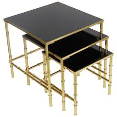 Brass and Black Glass Set of Nesting Tables