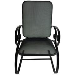 American Art Deco Mesh and Flat Steel Springer Chair, Garden
