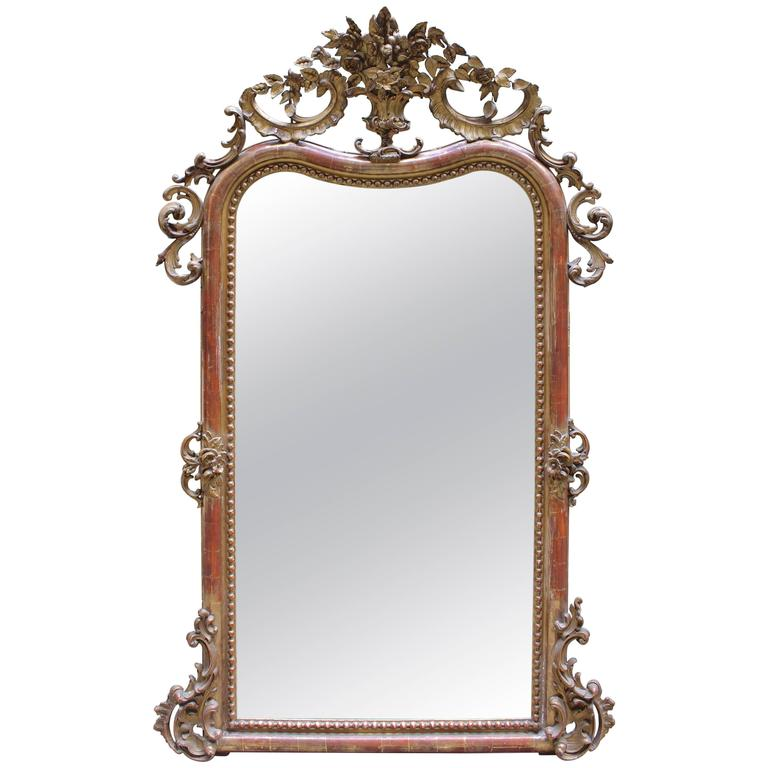 19th Century Louis XV Mirror with French Paint and Gilt