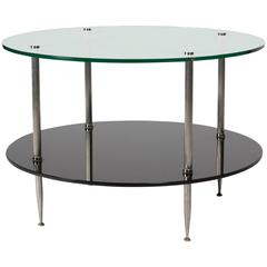 Circular Glass Top End Table, French, 1960s
