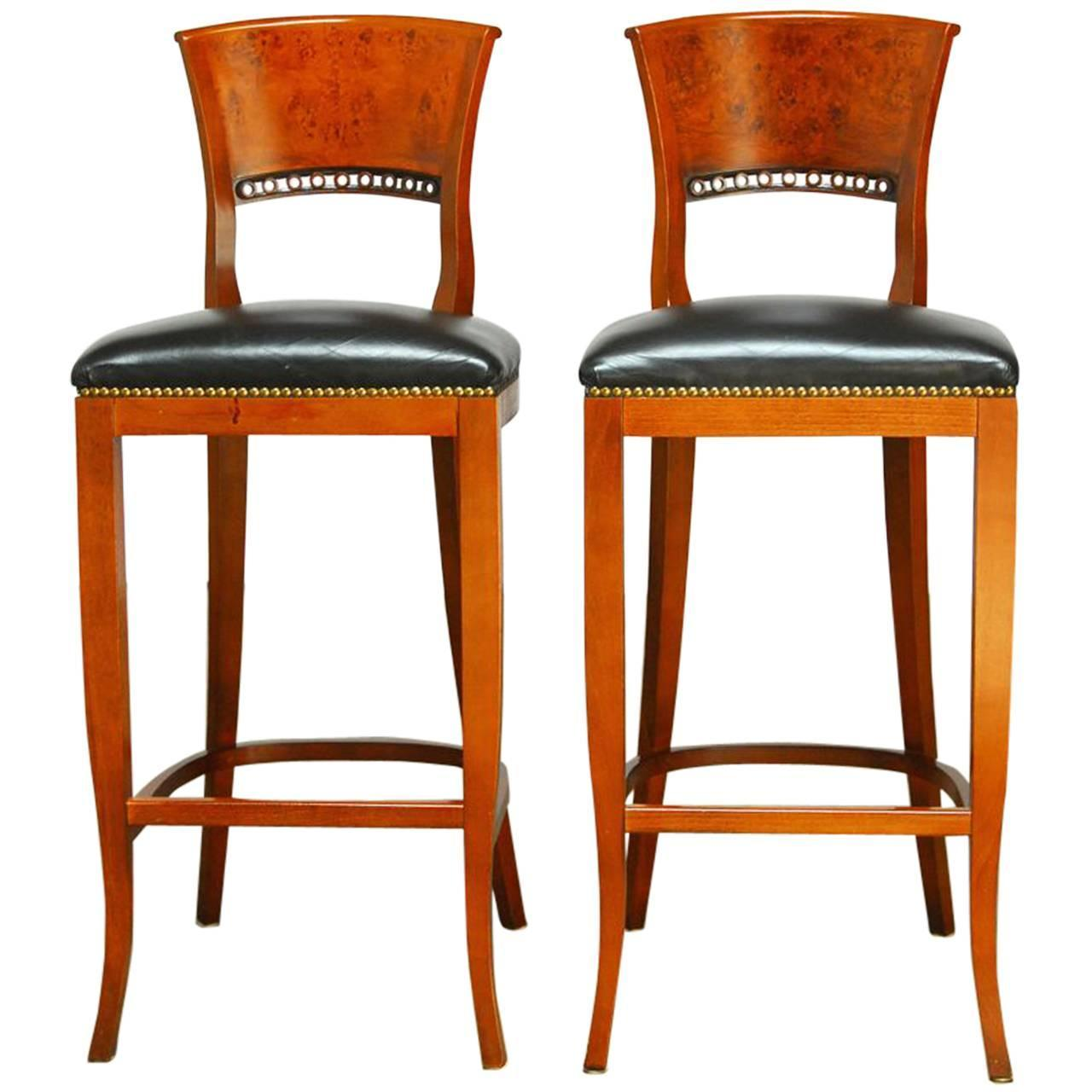 Pair Of Burl Wood Back Modern Bar Stools For Sale At 1stdibs