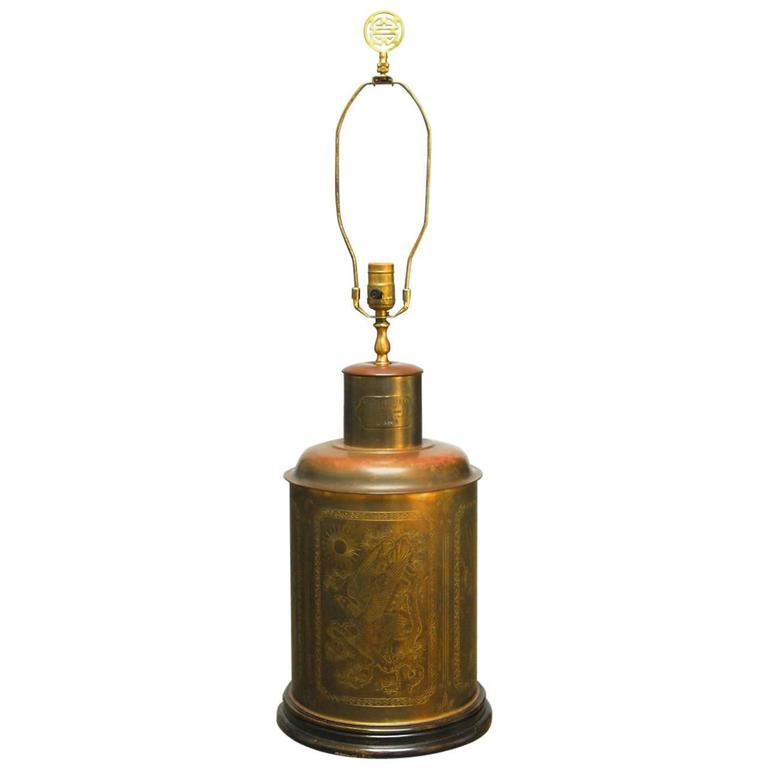 Brass Shrewsbury and Co. Tea Caddy Table Lamp at 1stdibs