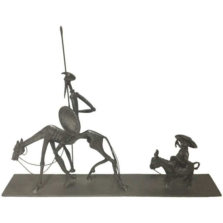 Signed Pewter Sculpture Of Don Quixote By Noted French Sculptor Michel Laude For