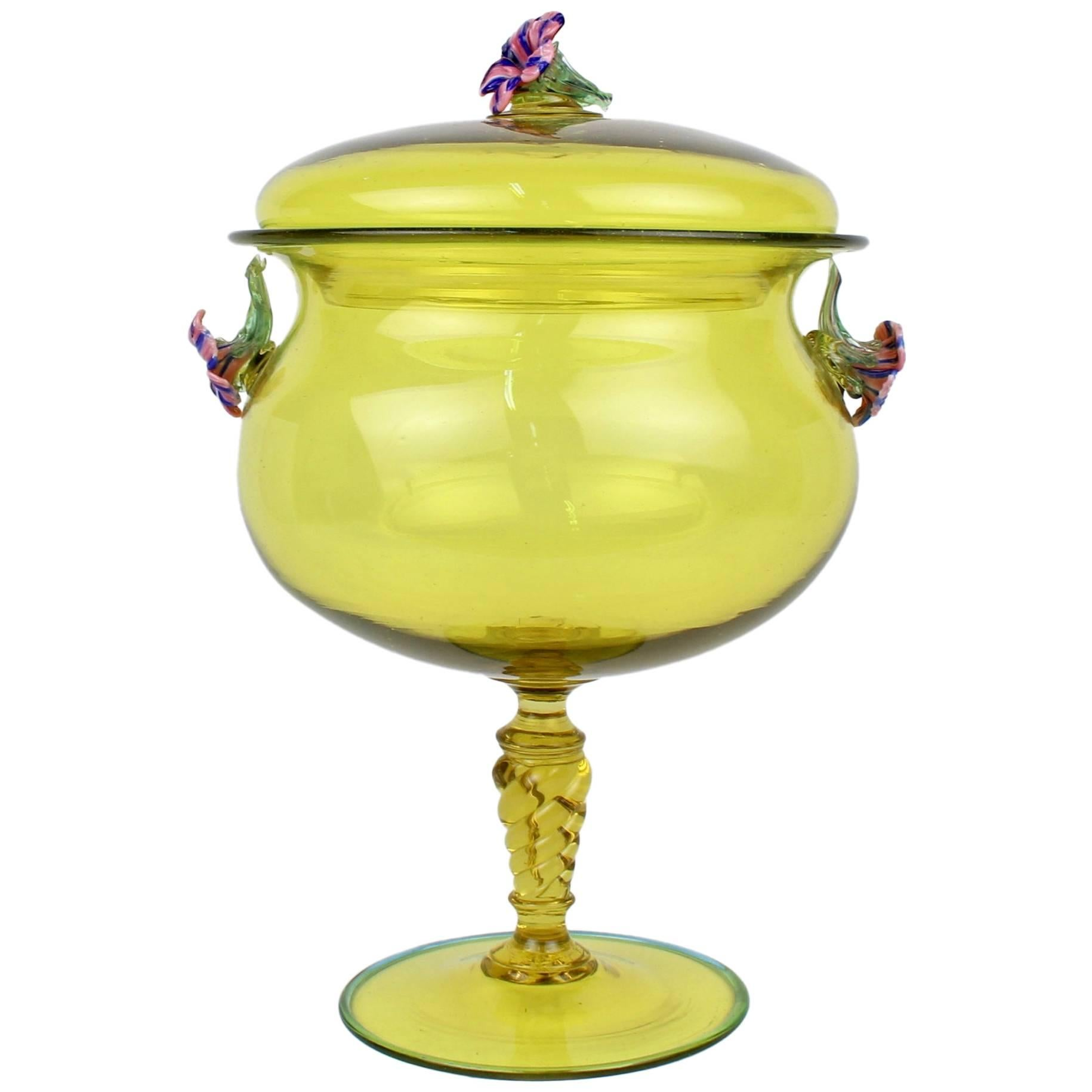 Large Canary Yellow Venetian/Murano Glass Covered Footed Bowl with Flower Finial