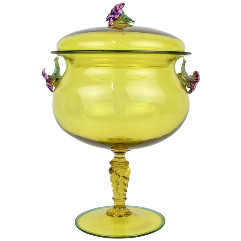 Large Canary Yellow Venetian/Murano Glass Covered Footed Bowl with Flower Finial For Sale