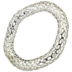 Islet Curved Narrow Bangle Bracelet in Sterling Silver by Doug Bucci, 2016