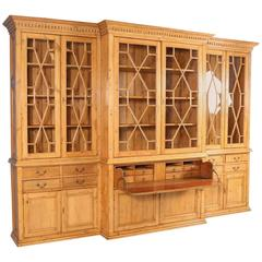 Large Antique English Pine Breakfront Bookcase, circa 1890
