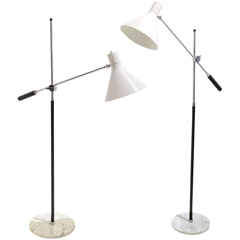 Pair of Arredoluce One Arm Floor Lamps