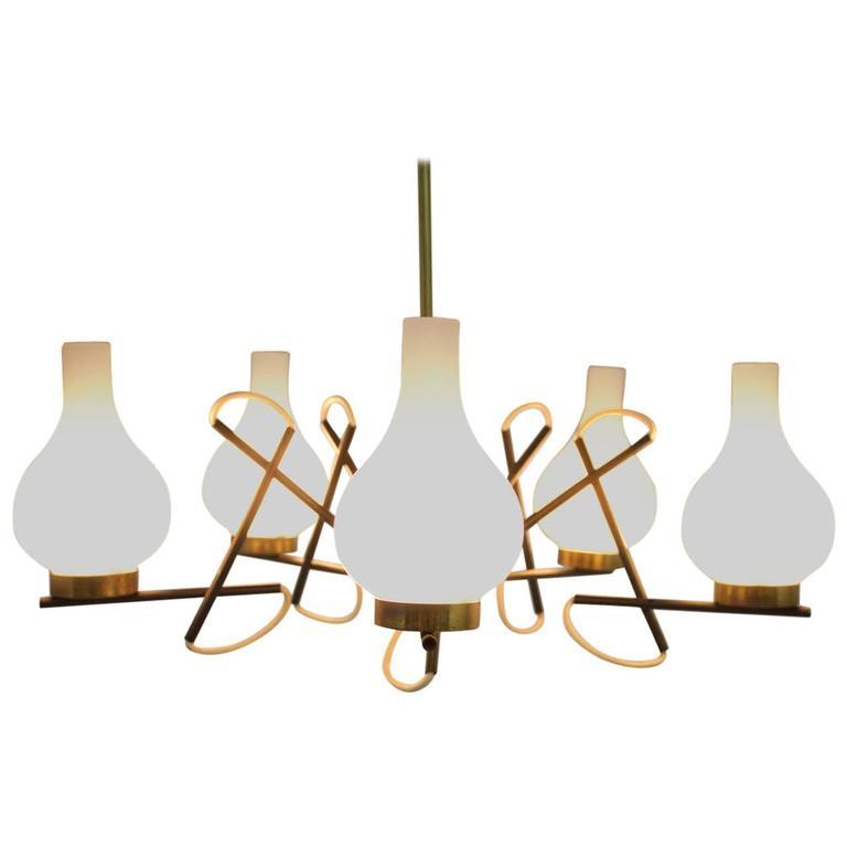 Italian Chandelier, Brass/Glass, 1960s