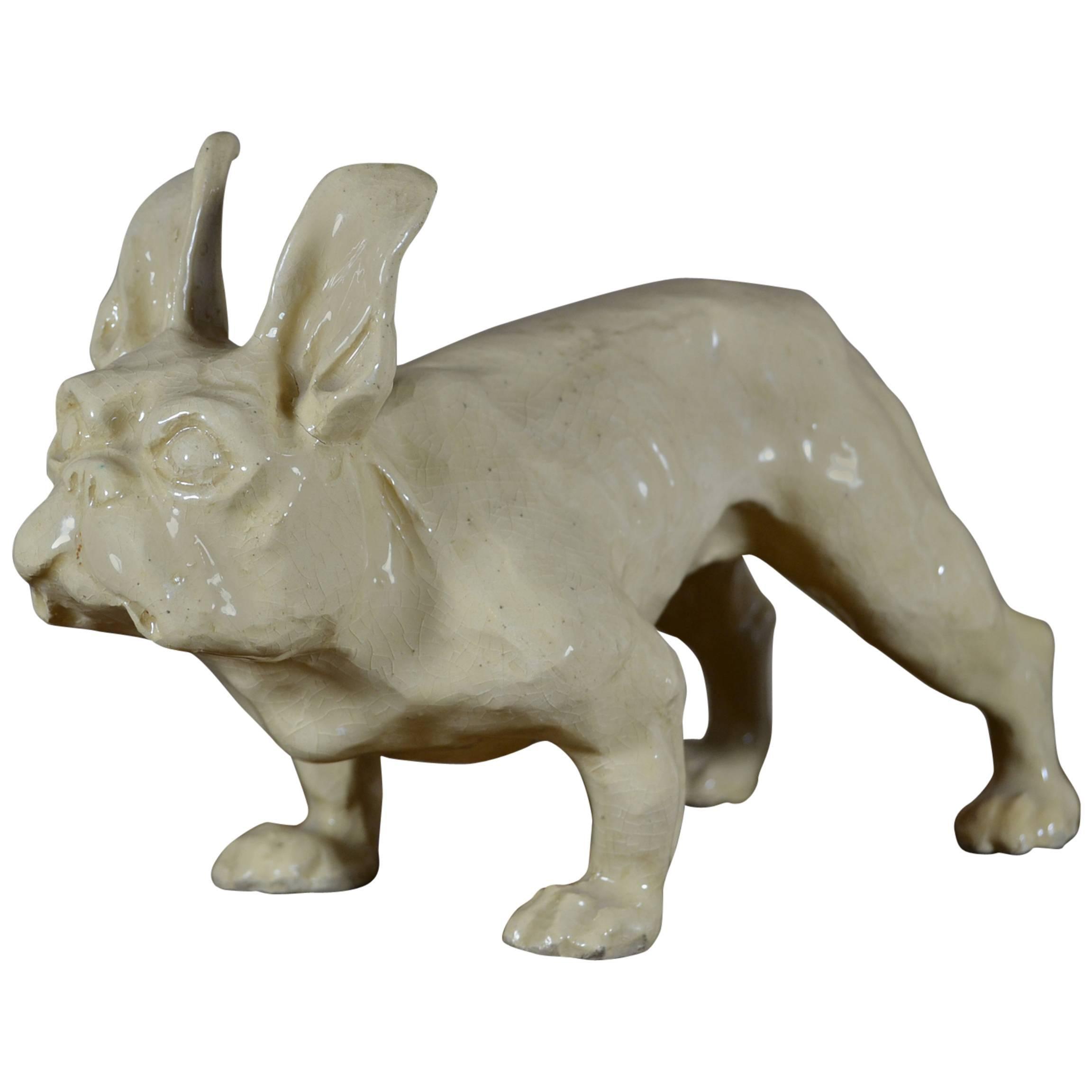 Art Deco Ceramic French Bulldog Sculpture