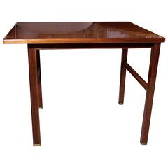 Cantilvered Mahogany End Table by Dunbar, American, 1950s