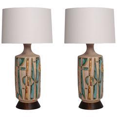 Pair of Large-Scale Ceramic Italian Lamps
