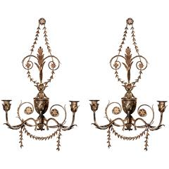 Pair of Tole Three-Candle Sconces
