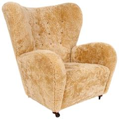 Flemming Lassen Attributed Sheepskin Easy Chair