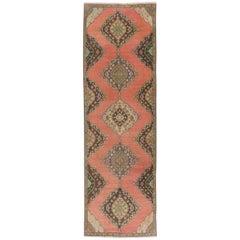 Vintage Turkish Oushak Runner. Traditional Wool Rug