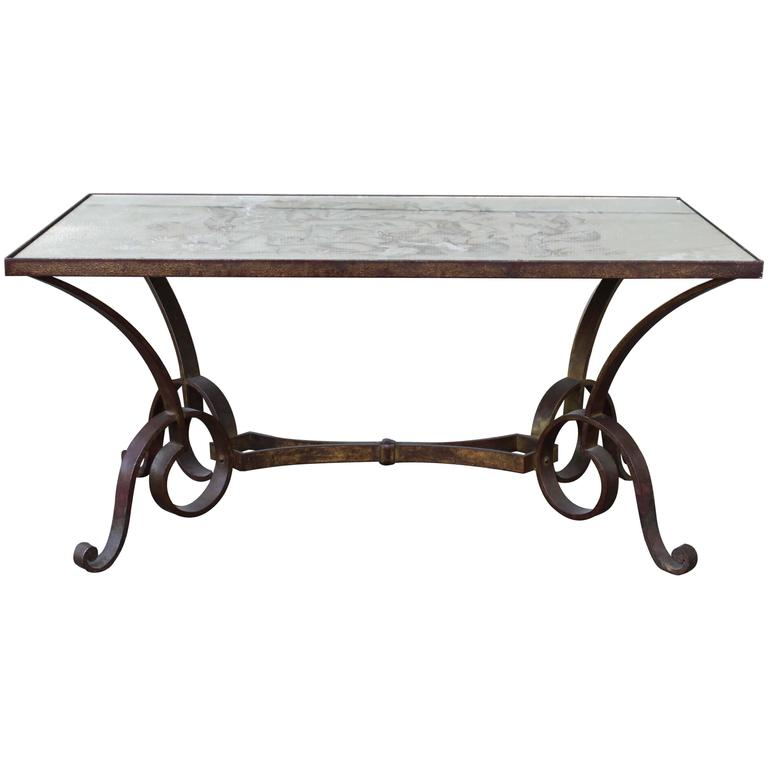 Églomisé Wrought Iron Coffee Table