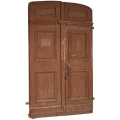 Large Antique French Pine Entry Doors, circa 1820-1840