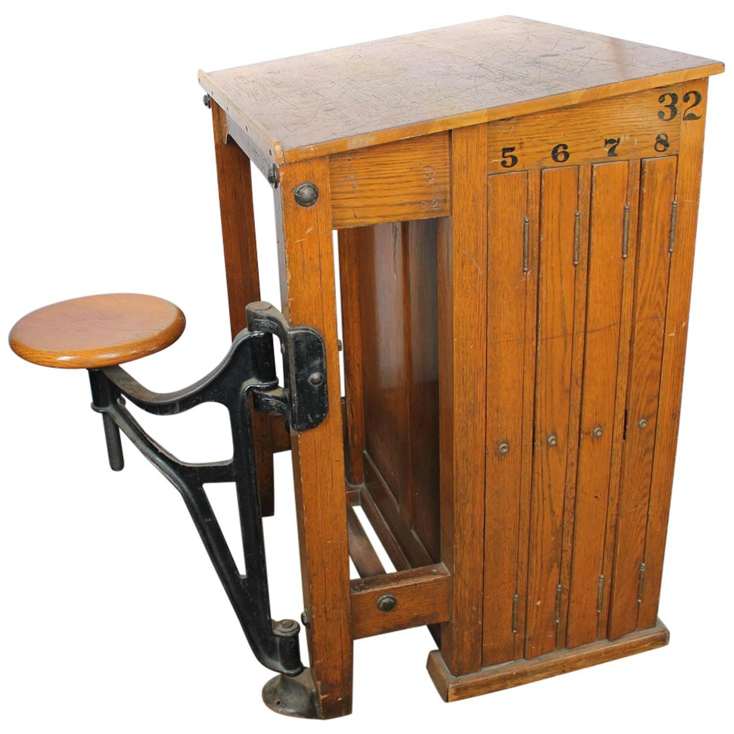 Antique American Drafting Table With Swing Out Seat For