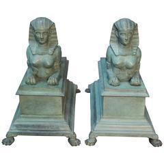 Antique Pair of Egyptian Revival Bronze Sphinx