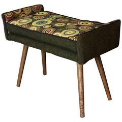 Mid-Century Inspired Vanity-Sized Stool, Sunbursts with Forest Green--in stock