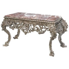 Large Italian Baroque Style Carved Silvered Wood Console