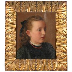 Antique Oil on Canvas Painting, Portrait of a Girl, circa 1890