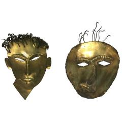 Terrific Brass Male Masks or Face Wall Sculptures in the Manner of Hagenauer