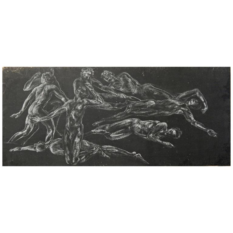 """""""Eight Nudes,"""" Monumental Drawing with Male Nudes Attributed to Davies"""